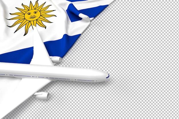 Avión de pasajeros y bandera de argentina