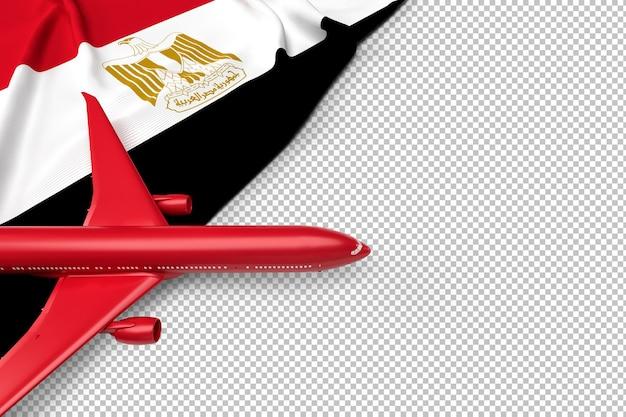 Avión de pasajeros y bandera de egipto