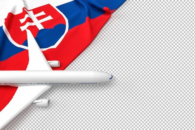 Avión de pasajeros y bandera de eslovaquia
