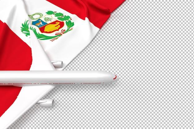 Avión de pasajeros y bandera de perú