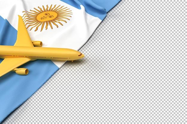 Avión de pasajeros y bandera de la república argentina