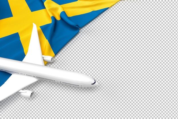 Avión de pasajeros y bandera de suecia