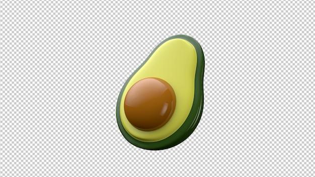 Avocado 3d illustratie uitknippad geïsoleerd