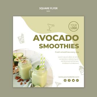Avocado-sap vierkante flyer-sjabloon
