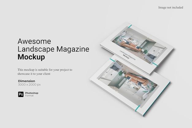 Awesome landscape magazine mockup design geïsoleerd