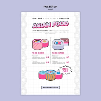 Aziatisch eten afdruksjabloon