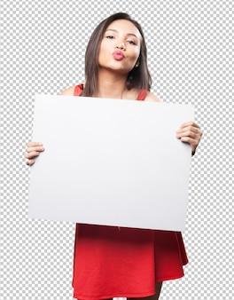 Aziatische vrouw die een banner houdt
