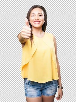 Aziatische vrouw die ok gebaar doet