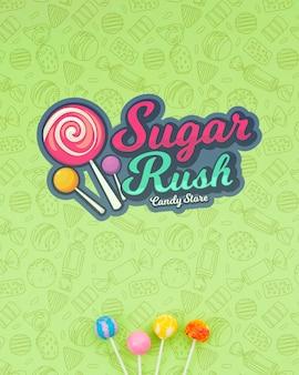 Azúcar con fondo de garabato y piruleta