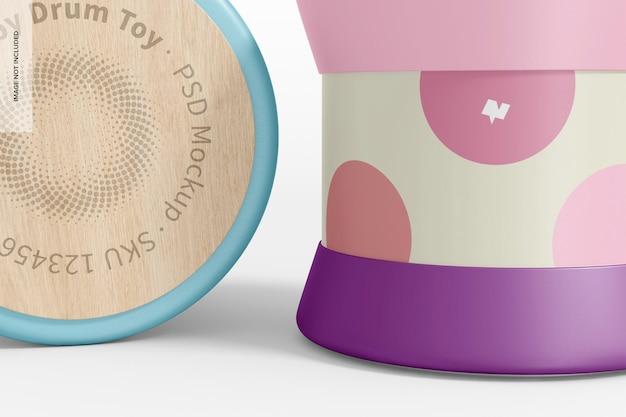 Baby drum speelgoed mockup, close-up