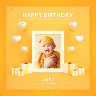 Baby gelukkige verjaardag uitnodigingskaart voor instagram social media postsjabloon met mockup