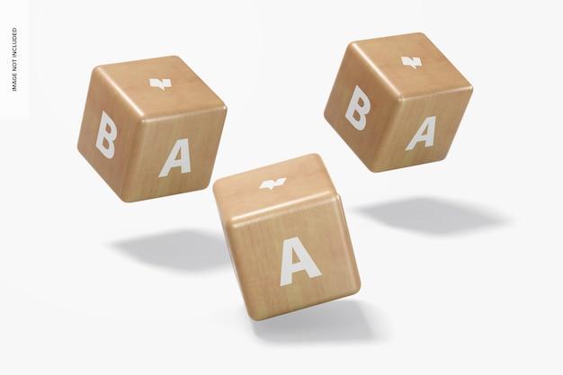Baby houten blokken set mockup, vallend