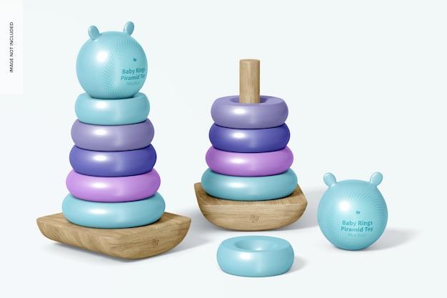 Baby ring piramides toy mockup