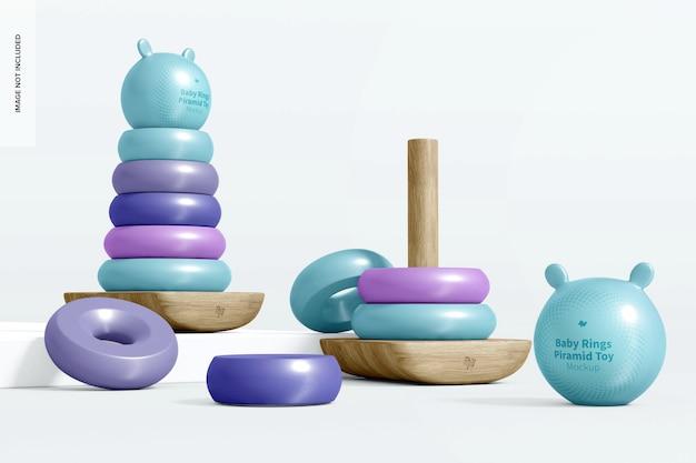 Baby ring pyramid toy mockup, juiste weergave