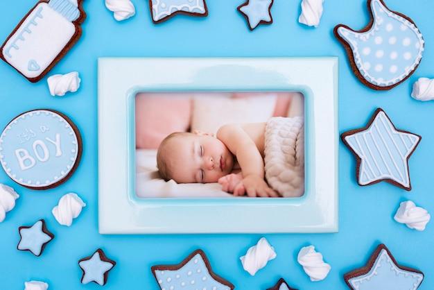 Baby shower decoraties met frame