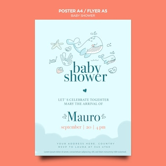 Baby shower viering poster sjabloon