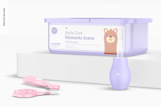 Babyverzorgingselementen scènemodel, juiste weergave