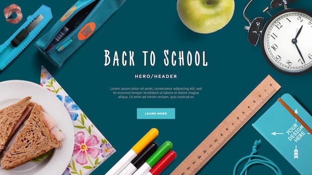 Back to school hero header escena personalizada