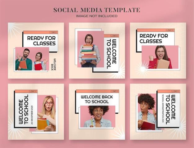 Back to school social media banner en instagram postsjabloon met retro esthetische computerstijl