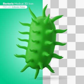 Bacterias médicas microorganismos ilustración 3d icono 3d color editable aislado