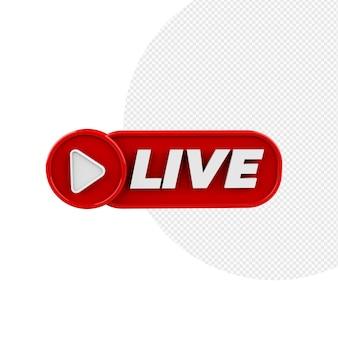 Badge 3d live stream rood geïsoleerd