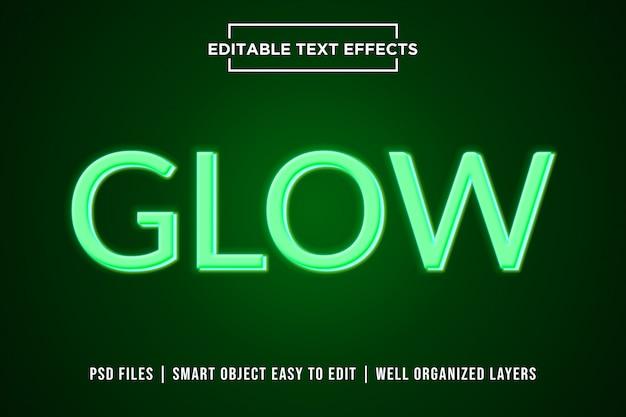 Bagliore verde neon testo effetto stile premium psd