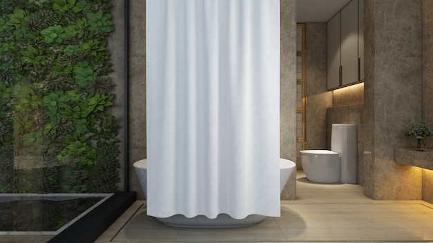 Bagno realistico con vasca e servizi igienici in una casa moderna