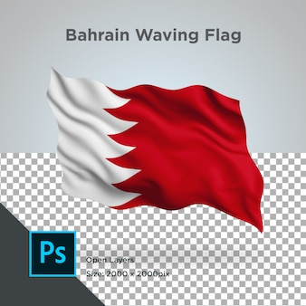 Bahrein vlaggolf in transparante mockup
