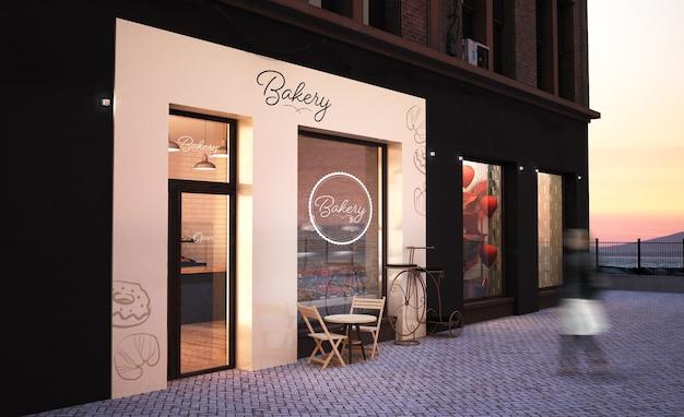 Bakkerij storefront 3d-rendering mockup