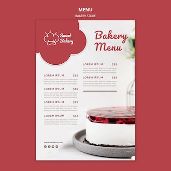 Bakkerij winkel restaurant menusjabloon