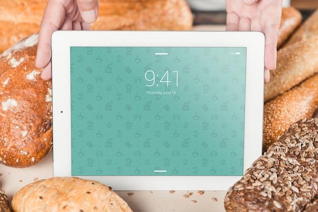 Bakkerijmodel met tablet