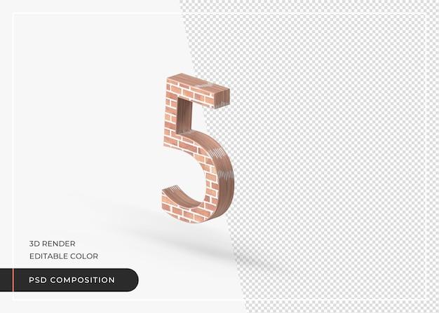 Baksteeneffect numeriek nummer 5 geïsoleerde 3d-rendering