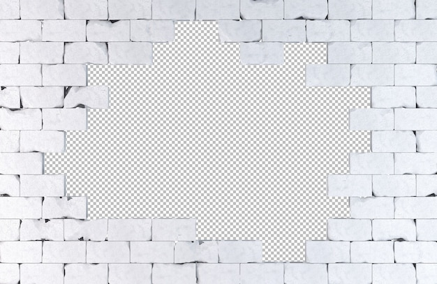Bakstenen muur met een groot gat geïsoleerd op wit 3d-afbeelding