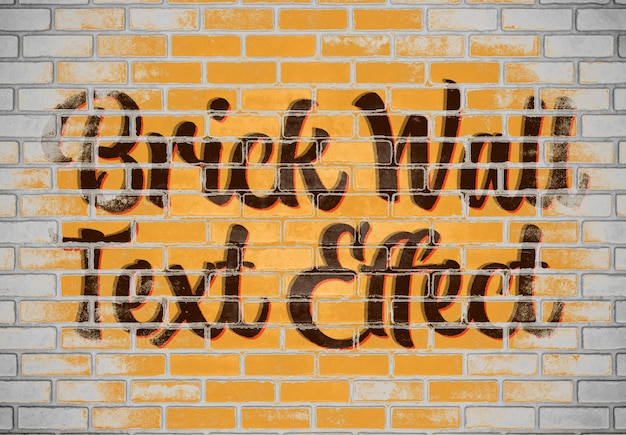 Bakstenen muur teksteffect mockup