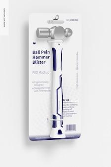 Ball pein hammer blister mockup, hangend