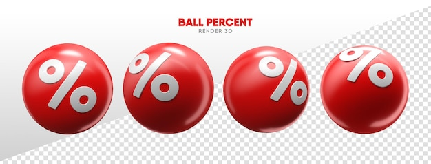 Ballen met procentpictogrammen in realistische 3d-weergave