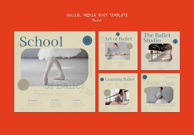 Ballet social media post ontwerpsjabloon