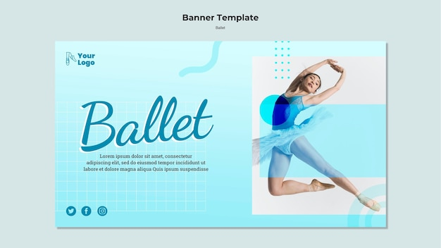 Balletdanseres horizontale banner met fotosjabloon