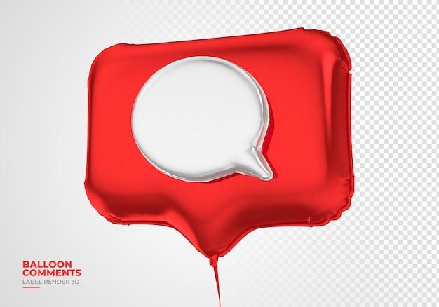 Ballon pictogram opmerkingen instagram 3d render sociale media