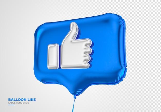 Ballonpictogram zoals facebook 3d render sociale media