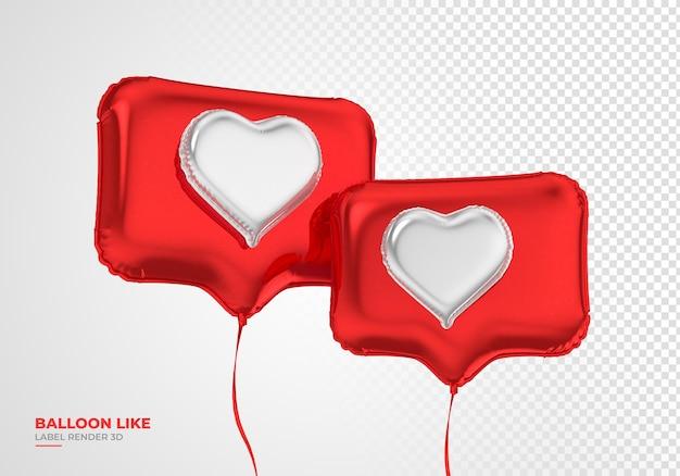 Ballonpictogram zoals instagram 3d render sociale media Premium Psd