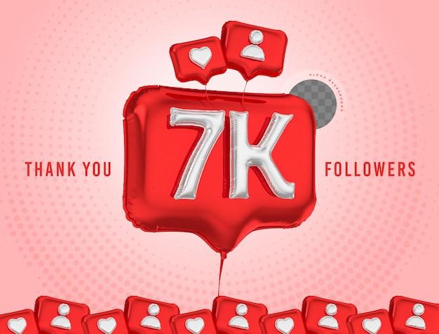 Ballonviering 7k volgers bedankt 3d render sociale media