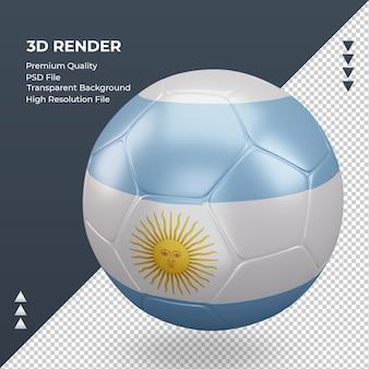 Balón de fútbol bandera argentina renderizado 3d realista vista derecha