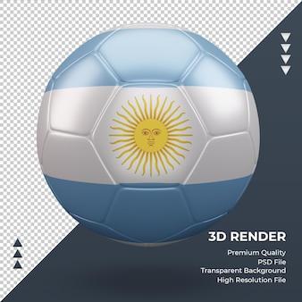 Balón de fútbol bandera argentina renderizado 3d realista vista frontal