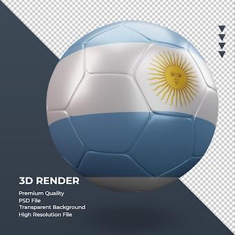 Balón de fútbol bandera argentina renderizado 3d realista vista izquierda