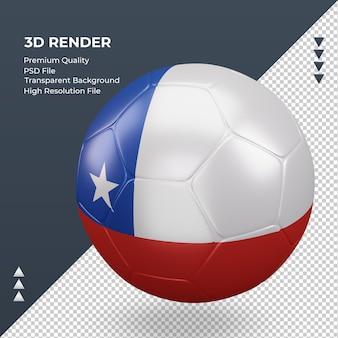 Balón de fútbol bandera de chile renderizado 3d realista vista derecha
