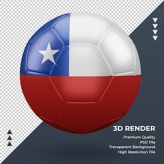 Balón de fútbol bandera de chile renderizado 3d realista vista frontal