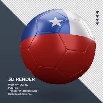 Balón de fútbol bandera de chile renderizado 3d realista vista izquierda