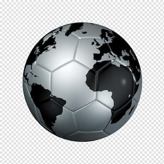 Balón de fútbol plateado con mapa mundial