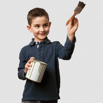 Bambino che tiene un secchio di vernice